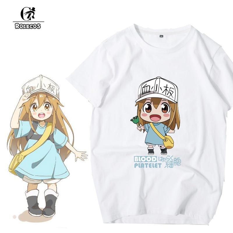 ROLECOS Anime Hataraku Saibou Cosplay Costumes T Shirt Platelet Erythrocytes Cosplay Costume Cells At Work Cosplay Women Men