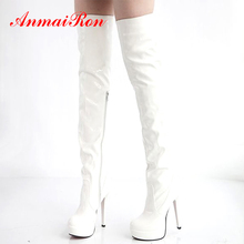 ANMAIRON Patent Leather Nightclub Performance Boots Over-the-Knee Thin Heels Super High Round Toe  Motorcycle Zip White