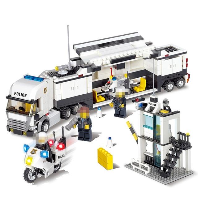 511 шт. полицейский участок автомобиль грузовик строительные блоки кирпичи Обучающие совместимые Legoings город полицейские игрушки для детей легоe