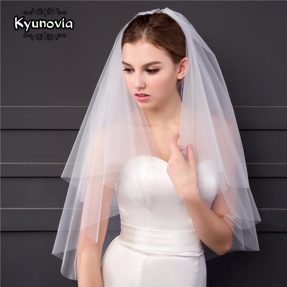 Kyunovia High Quality 2 Tier Bridal Veil White Or Ivory