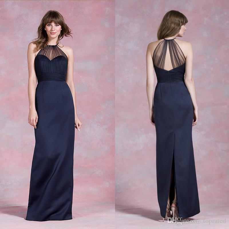 Navy Blue Bridesmaid Dresses 2015 High Neckline Wedding Guest Gowns Sheath Side Split Sheath Party Prom Dress Custom Made