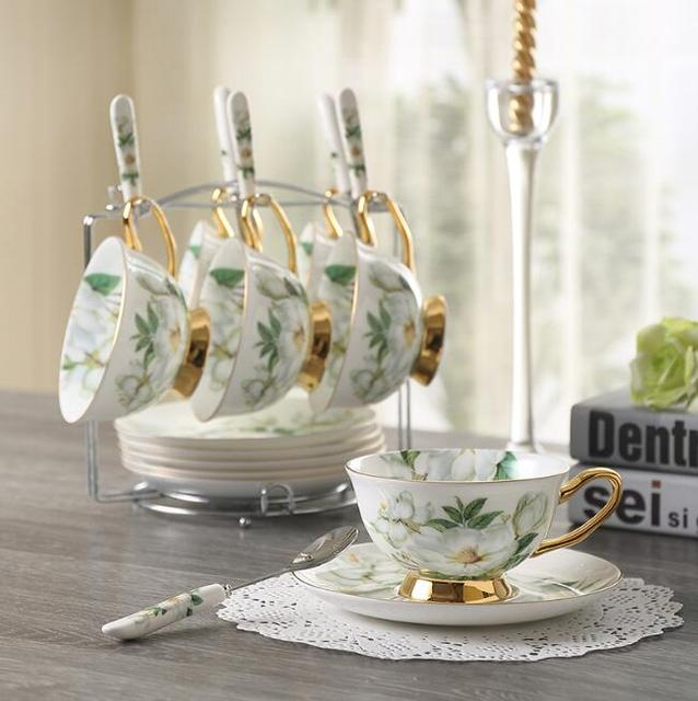 180 Ml Le Ceramic Set Of 6 Tea Cup With Spoon Bone China Tableware Fls