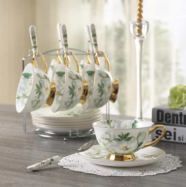 Online Shop 180 Ml Noble Ceramic Set Of 6 Tea Cup Set With Spoon