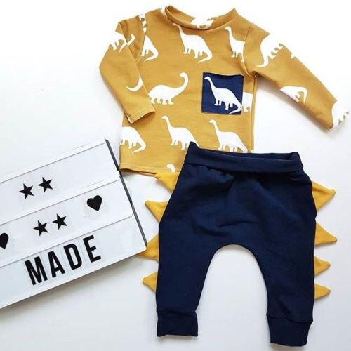 2Pcs Toddler Kids Baby Boy Romper Shirt Tops+Long Pants Kids Outfits Clothes Set