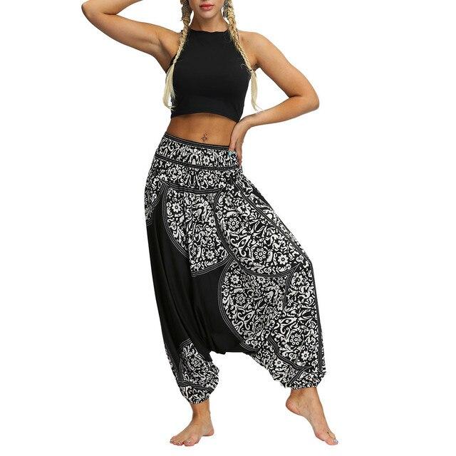 AP04 Boho Hippie Dark Blue Rayon Elastic Waist Long Aladdin Summer pants