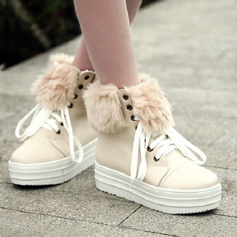 ФОТО 2017 Autumn Winter Women Snow Boots  Plus Fur Ankle Boots Warm Suede Boots Platform Muffin Pink Beige Flat Women Shoes ZK4