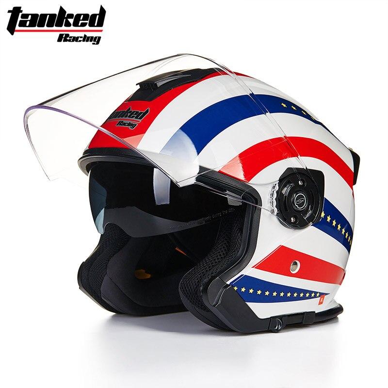 ФОТО Brand Tanked Racing T597 Vintage Motorcycle Helmet Double lens Open face helmet Retro Scooter 3/4 helmet Moto Casco