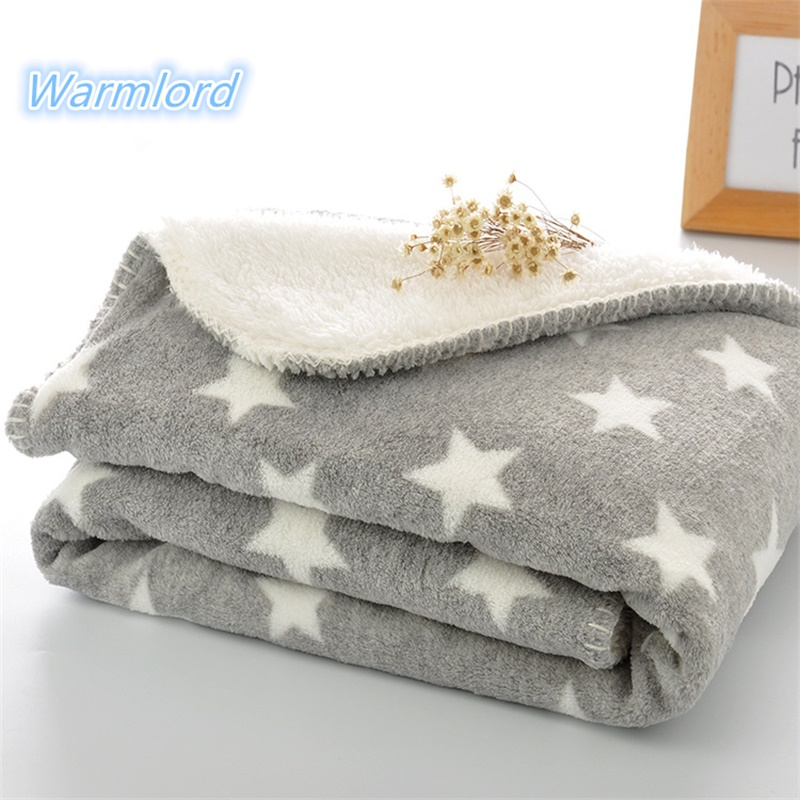 100X150cm Thick Extra Big Winter Kids Blanket Grey Star Super Soft Toddler  Baby Blanket Bedding Quilt Swaddle Back Seat Blanket
