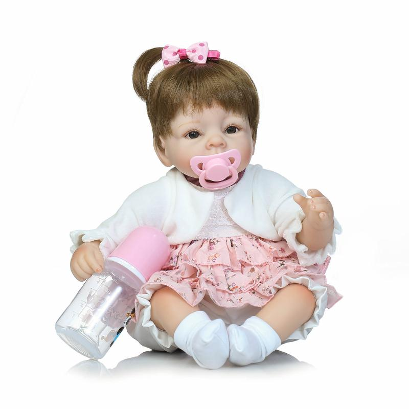 New 40cm Soft Body Slicone Reborn Baby Doll Toy For Girls Vinyl Newborn Girl Babies Dolls Lifelike Kids Child Gift 2016 cotton body reborn babies lifelike princess girls doll toy rooted mohair gift for baby reborn poupon brinquedos new year