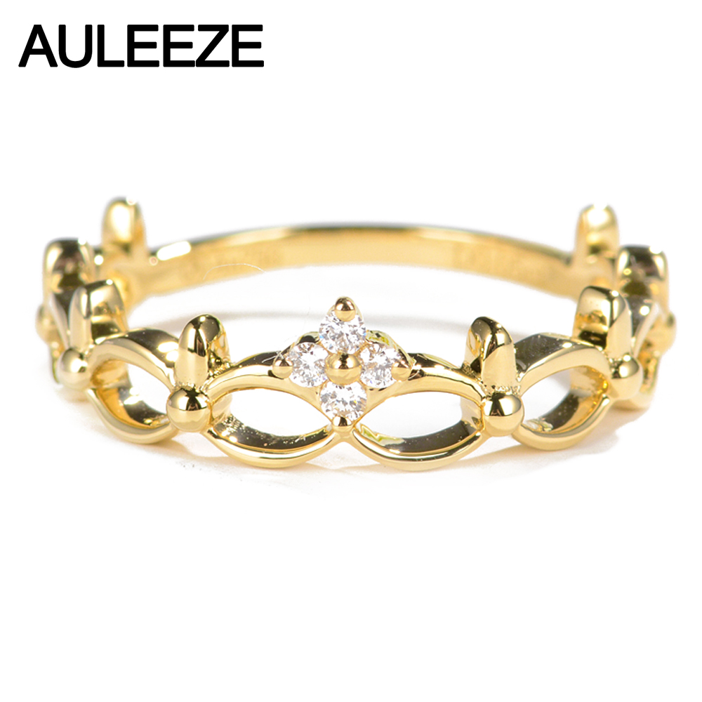 AULEEZE Crown Design Natural Diamond Ring 18K Yellow Gold Womens Rings Real Diamond Fine ...