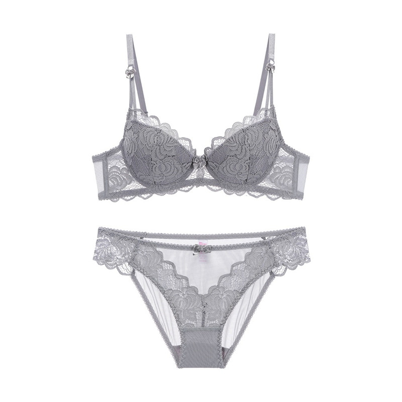 French Sexy Ladies Half Cup Women's Underwear Bra Set Comfortable Gather Sexy Deep V Temptation Bracket Lingerie Set