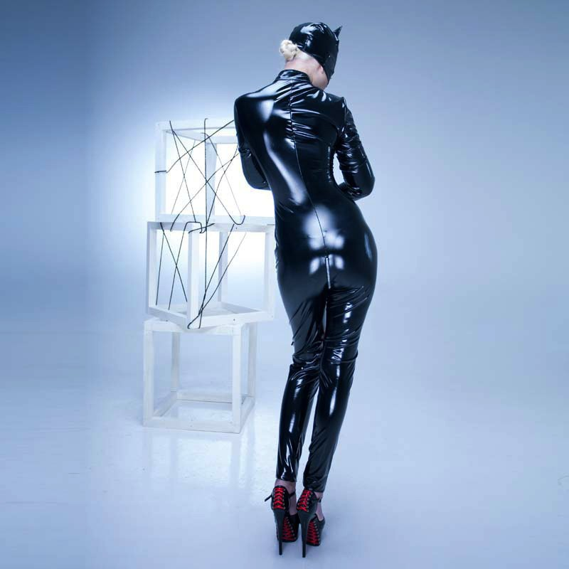 Grande taille S-XXL PVC Latex adulte femmes PU cuir Catsuit Sexy Catwoman Costume chat masque Latex body extensible entrejambe ouvert - 6