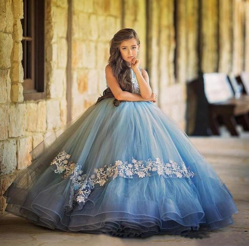 Gorgeous Puffy Flower Girl Dress For Special Occasion Glitz Princess Dress Sleeveless Appliques Any Size And Any Color Vestidos