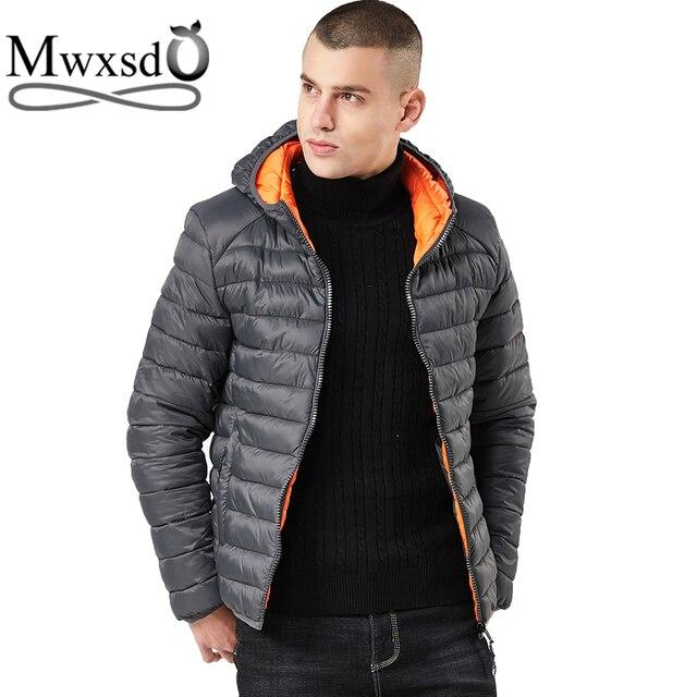 size 40 4d6a0 f3fb5 Mwxsd Marke Winter Männer warme kapuzen parka Jacke und mantel Casual  baumwolle park Jacken Mäntel männlichen solide