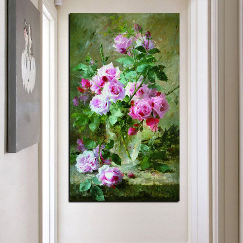 HD Print Modern Watercolor Flowers in Vase Floral Oil Painting on Canvas Poster Wall Picture for Living Room Sofa Cuadros Decor