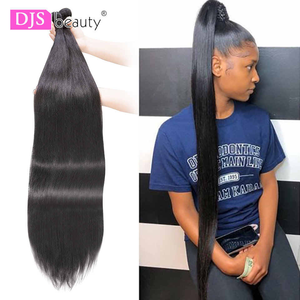 DJS Beauty 30 Inch Bundles Long Length 1/3/4 PCS 40 Inch Bundles Straight Natural Color 7A Indian Virgin Hair Extensions(China)