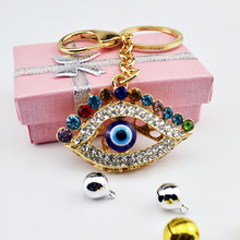 Punk Style Evil Eye & Palm Keychains Keyring Fashion Rhinestone Animal Metal Key Chain For Women Gift Charms Pendant Jewelry