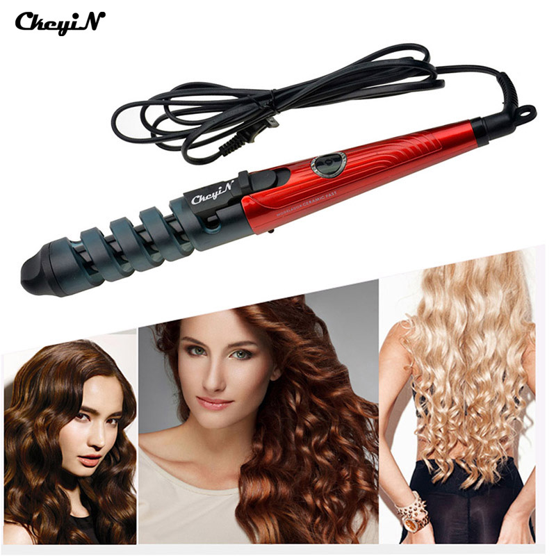 Pro Hair Curler Electric Ceramic Hair Curler Spiral Hair Roll Curling Iron Wand Hair Styling Tools Styler Rizador De Pelo 33 ckeyin automatic hair steam curler ceramic wand curling iron auto steam spray electric hair curler professional styler tools 40