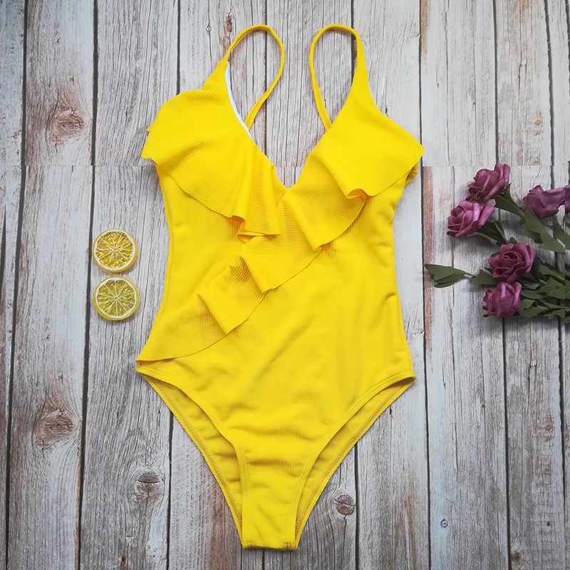 2019 セクシーなワンピース水着女性 V ネックバックレスフリルフリルハイウエスト女性の水着水着水着ビーチウェア
