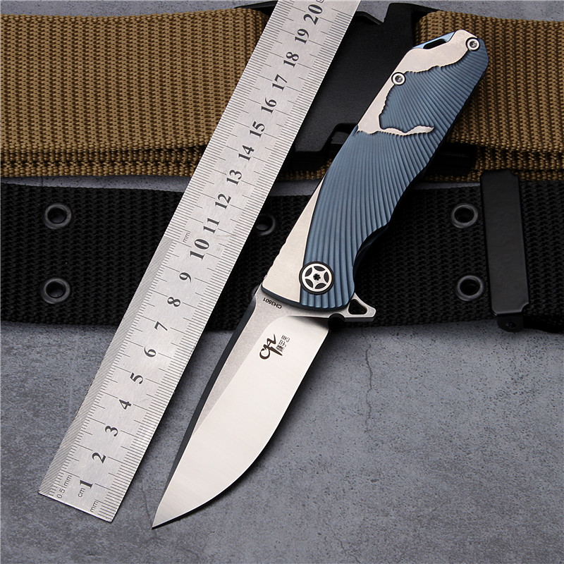 2018 New Free Shipping Outdoor Survival Camping Folding Knife AUS-10 Steel TC4 Titanium Alloy Tactical Hunting Knives EDC Tools hx small mercenary survival hunting knife d2 steel blade fixed blade knife straight camping knives multi tactical hand tools