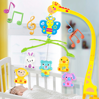 4 In 1Musical Crib Mobile Bed Bell Kawaii Animal Baby Rattle Rotating Bracket Toys Giraffe Holder