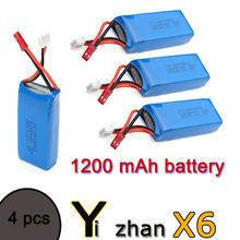 цена на Free Shipping! 4PCS 1200 mAh Battery For JJRC H16 YiZhan Tarantula X6 IOC RC Quadcopter Drone