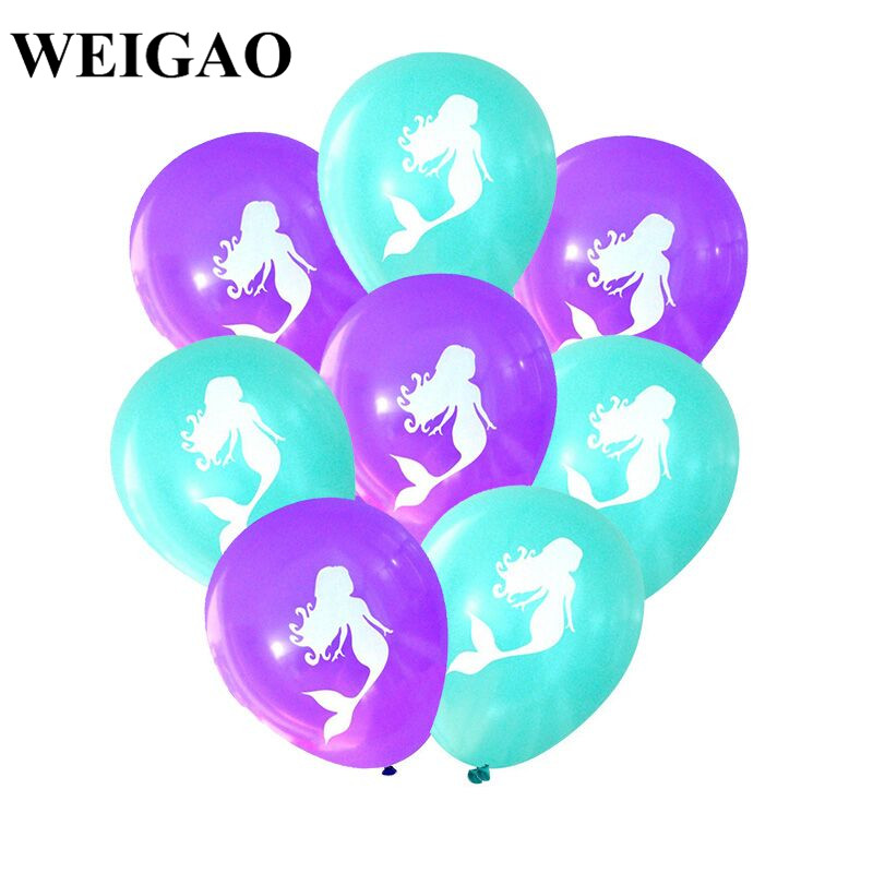 WEIGAO 10Pcs Birthday Balloons 12inch Latex Ballons Mermaid Party Balloons Baby Girl 1st Birthday Baby Shower Party Air Balloon