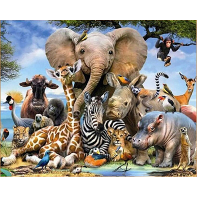 5D DIY diamond painting animals united full square round diamond handmade mosaic picture home decor children gift in Diamond Painting Cross Stitch from Home Garden