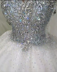 Image 5 - Custom Made Luxury Ball Gown Fluffy Glitter Tulle Crystal Beaded Diamond Formal Wedding Dresses Bridal Gowns   SC12