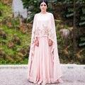 2017 Blush Rosa Indio Sari Indio de Oro Apliques de Gasa Que Fluye Vestidos de Noche Largo Formal de Los Vestidos de Noche de Las Mujeres Maxi Vestido