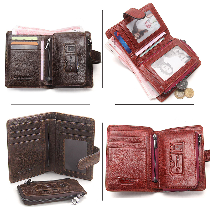 CONTACT'S New Fashion Men Wallet Long Genuine Leather For Male Luxury Brand Purses and Female Clutch Wallets With Coin Pockets 4