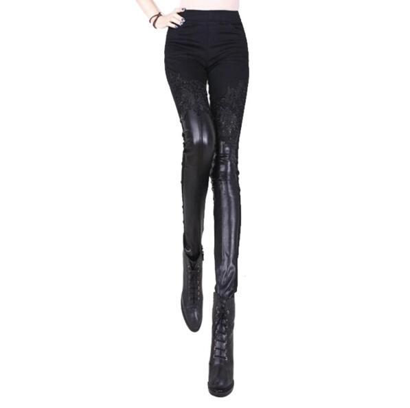 Women's Fashion Faux Leather High Waist Skinny PU Leggings Pants Plus Size Lace PU Leather Winter Thicken Leggings