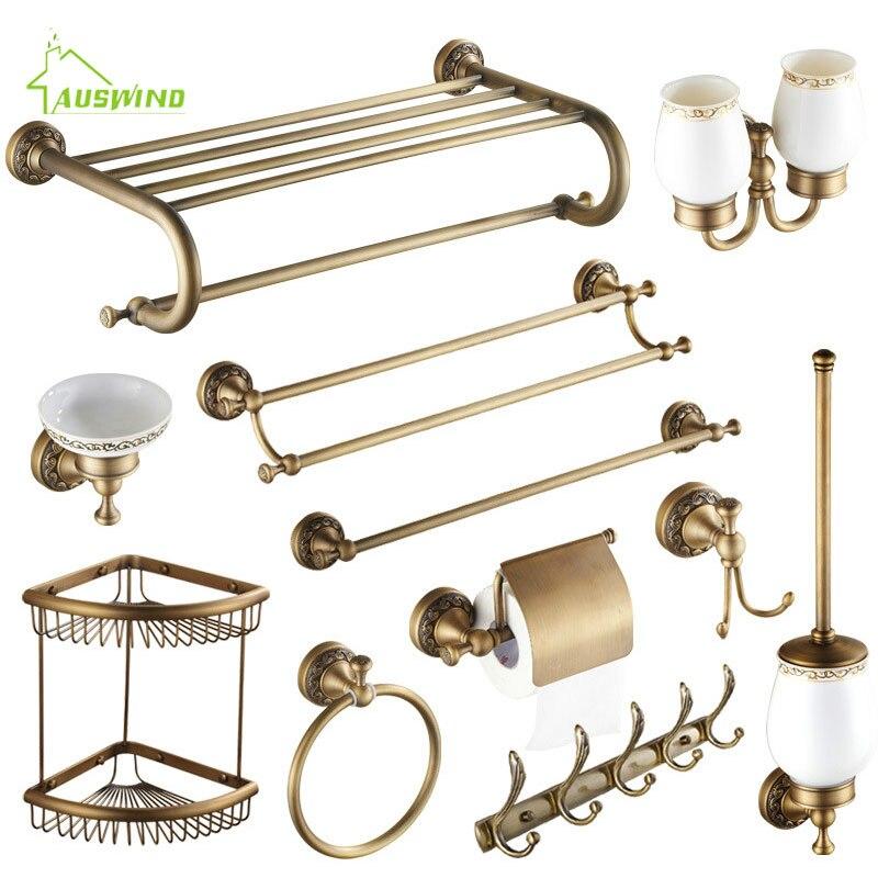Beau Antique Brushed Brass Bathroom Accessories Sets European Carving Bronze  Bathroom Hardware Set Bathroom Products Rw2 In Bath Hardware Sets From Home  ...