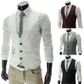 Hot Sale 2015 Spring Men's Vests Classic Male Clothing Autumn Man Casual Slim V-neck Vest Suit Vest 4 Colors M~XXXL