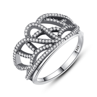 ZMZY 100 925 Sterling Silver Crown Ring For Women Love Wedding Jewelry Micro Pave Cubic Zirconia