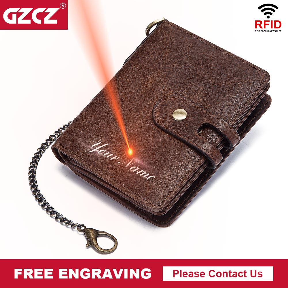 GZCZ RFID Wallet PORTFOLIO Small Card-Holder Hasp Money-Bag Male Purse Quality 100%Genuine-Leather