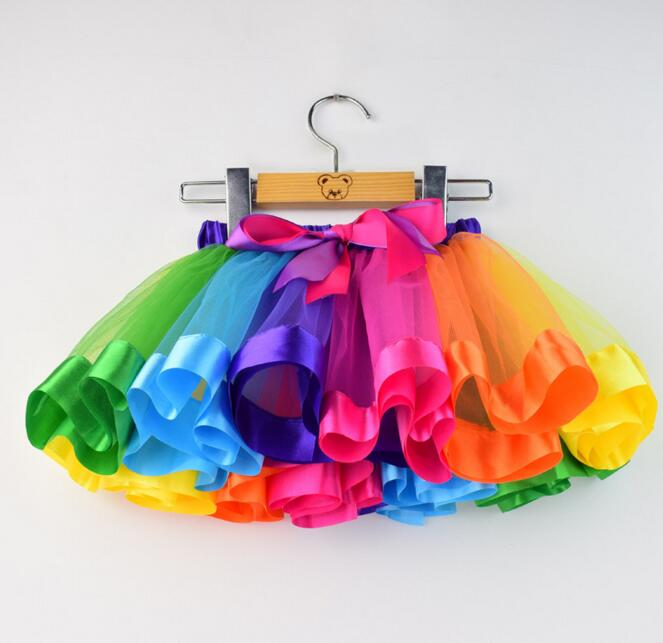 Girls Skirt Baby Kids Rainbow Tutu Skirts Clothes Children Dance Skirt 2017 Students Summer Bow Mesh