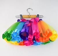 Girls Skirt Baby Kids Rainbow Tutu Skirts Clothes Children Dance Skirt 2017 Students Summer Bow Mesh
