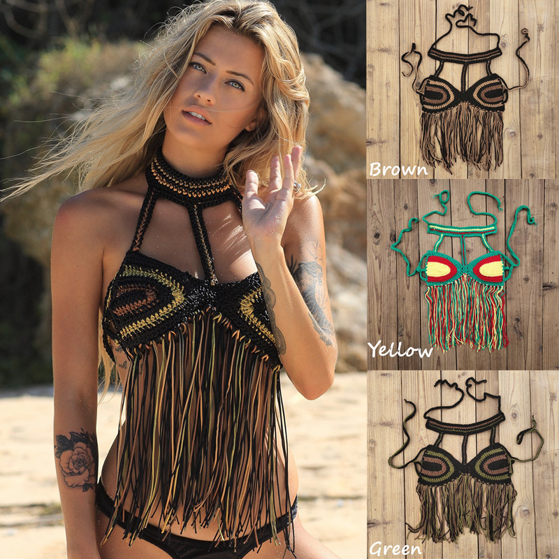 Handmade Crochet Beach Bikini Top Ecstatic Dance Top Women Tassels Top Swimwear