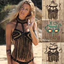 Handmade Crochet Beach Bikini Top Ecstatic Dance Women tassels Swimwear