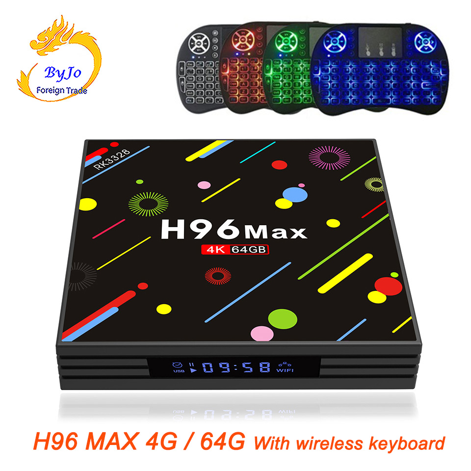 H96 MAX 4G RAM 64G ROM Android 7.1 smart TV box With wireless keyboard Rockchip RK3328 Quad-core Support H.265 UHD BT 4K