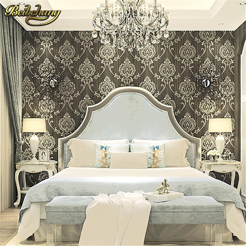 beibehang wall paper Pune wallpaper European Damascus AB edition high environmental non-woven wallpaper living room bedroom beibehang wallpaper high grade environmental protection non woven wallpaper girl boy room room striped wall paper car children