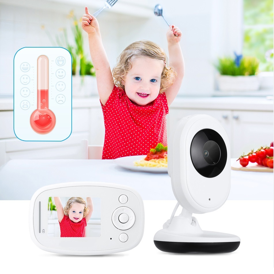Babykam baba eletronica nanny video baby monitor 2.4 inch Intercom Temperature monitor 2X Zoom IR Night Light Vision audio nanny