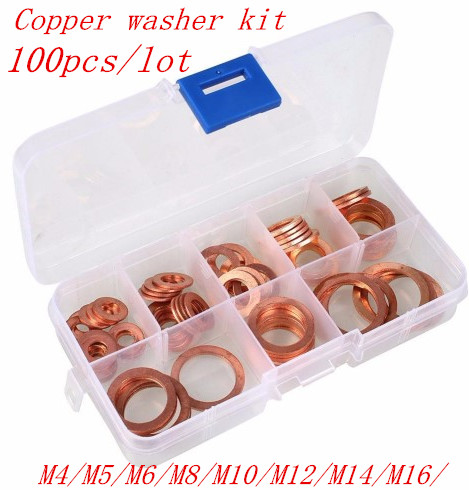 Design; 100pcs M4-m14 Professional Assorted Copper Washer Gasket Set Flat Ring Seal Assortment Kit With Box For Hardware Accessor Novel In