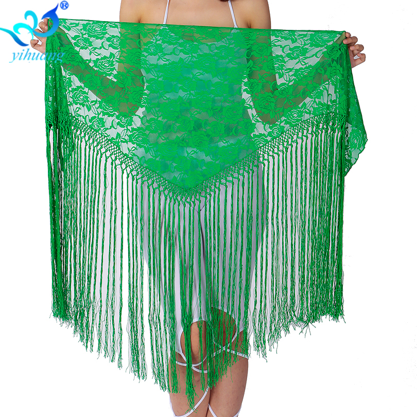 Free Shipping Belly Dance Costume Hipscarf Shawl Indian Dance Belt Egypt Outfits Taining Bellydance Lace Fringe
