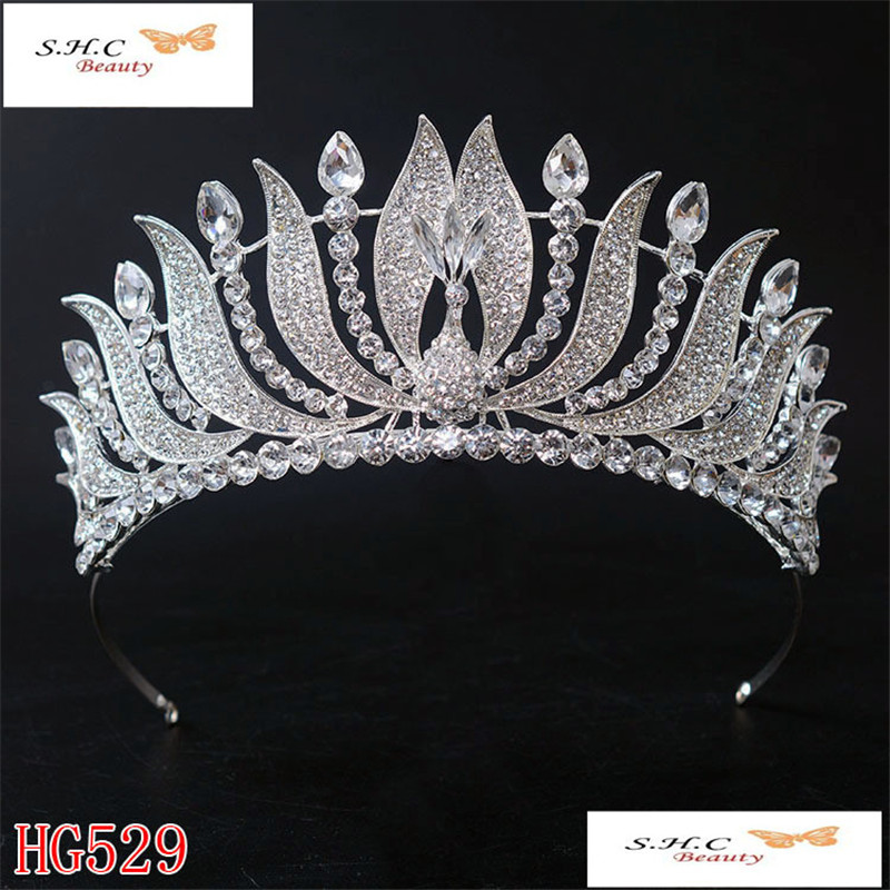 New Fashion Bride Wedding Crown Silver Plated Peacock Bride Crystal Crown Large Queen Crown Wedding Hair Accessories HG-G055 cele goldsmith lalli modern bride® wedding celebrations