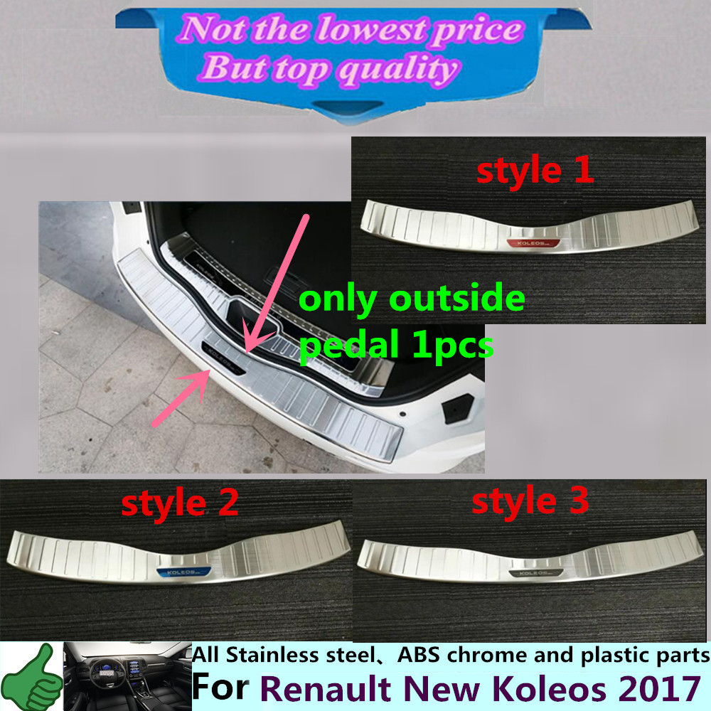 For Renault Koleos 2017 car body outside Rear Bumper trim styling detector Stainless Steel plate pedal panel 1pcs