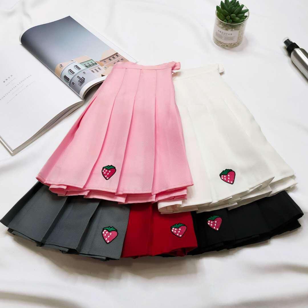 XS-XXL Five Colors Summer New A-Line Women Skirt High Waist Strawberry Embroidery Pleated Skirt Women Safety Pants Mini Skirt