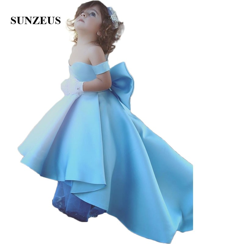 Blue Satin Ball Gown Arabic Girls Party Dresses Sweetheart Off the ...