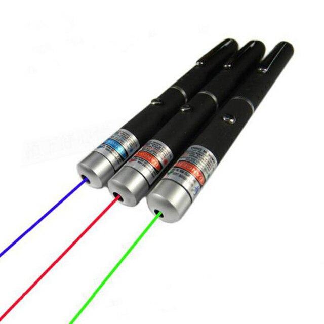 חדש אדום/סגול/ירוק מצביע לייזר 5 mW עוצמה 500 M לייזר עט מקצועי לייזר מצביע עם 2 * AAA סוללה להוראה